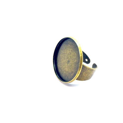 Antikolt bronz színű sima szélű gyűrűalap (25mm)