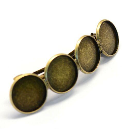 Antikolt bronz színű 4 tányéros hajcsat (20mm) hozzá tartozó üveglencsével