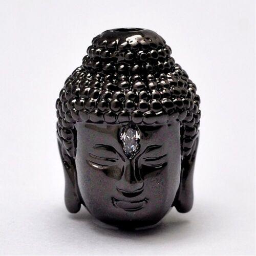 Buddha fej gunmetál színű cirkónia gyöngy (14x10mm)