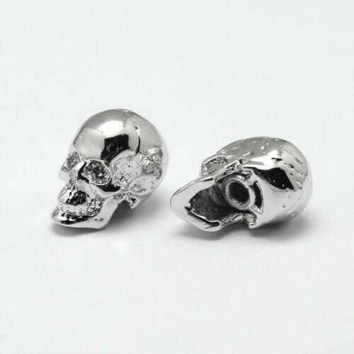 Ezüst színű cirkónia strasszos koponya gyöngy