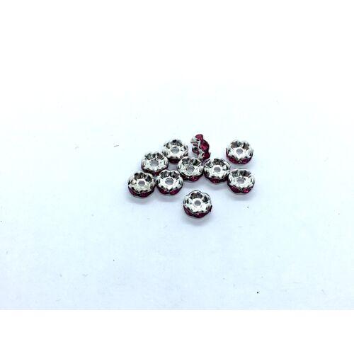 10db ezüst színű ciklámen strasszos köztes (6x3mm)