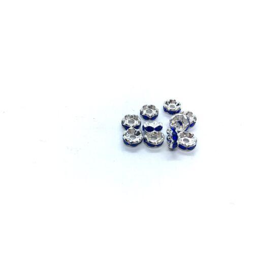 10db ezüst színű sötét kék strasszos köztes (6x3mm)