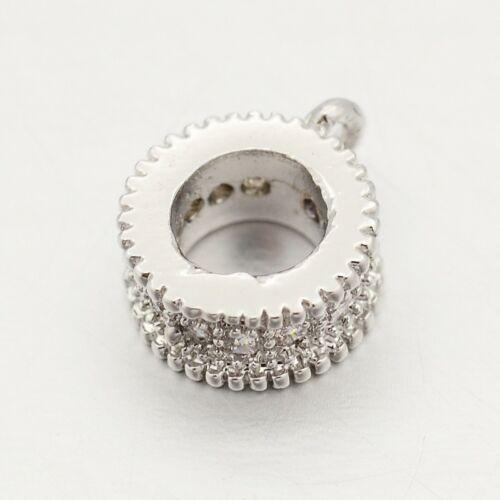 Ezüst színű cirkónia strasszos köztes/medáltartó (8,5x7x3mm)