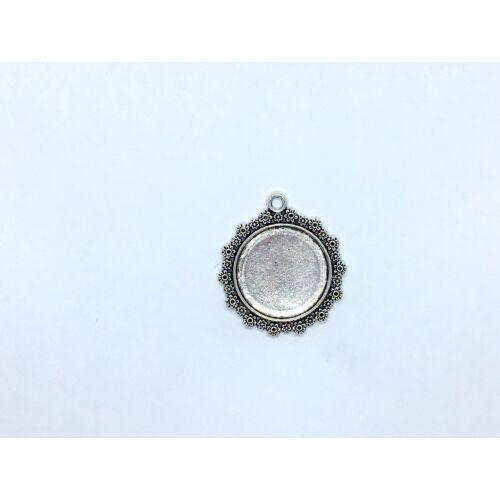 Antikolt ezüst színű virágos medálalap (20mm)