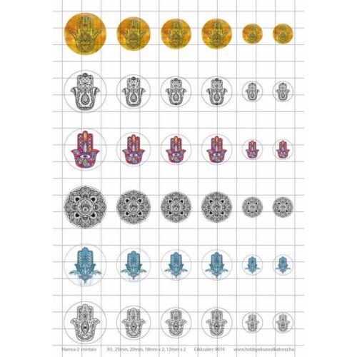 Hamsa-2 Üveglencsés ékszerpapír több méret 6 féle minta A5