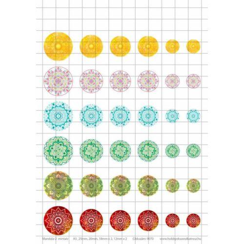 Mandala-2 Üveglencsés ékszerpapír több méret 6 féle minta A5