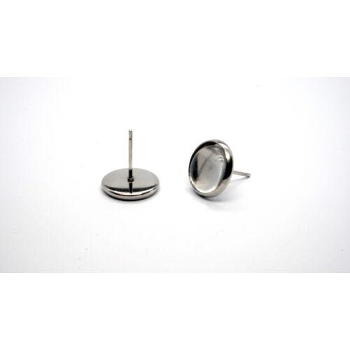 Nemesacél bedugós fülbevalóalap (8mm) hozzá tartozó üveglencsével