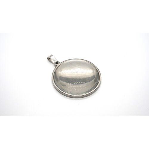 Nemesacél medálalap medáltartóval (30mm) hozzá tartozó üveglencsével