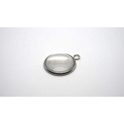 Nemesacél medálalap (8mm) hozzá tartozó üveglencsével