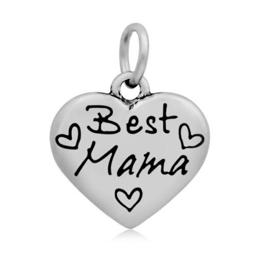316-os Nemesacél Best Mama szív fityegő