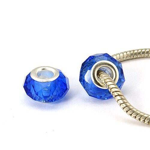 Sötét kék színű csiszolt pandora stílusú gyöngy (14x11mm)