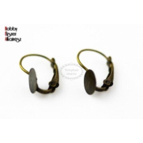 Antikolt bronz színű ragasztható kapcsos fülbevalóalap