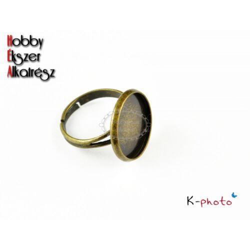 Antikolt bronz színű gyűrűalap (16mm)