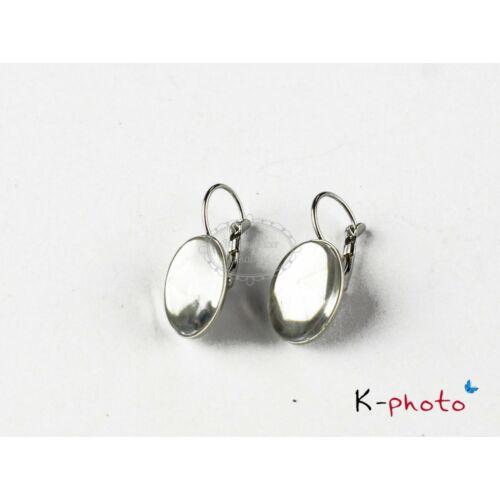 Antikolt ezüst színű franciakapcsos fülbevalóalap hozzátartozó üveglencsével (13x18mm)