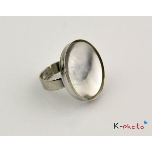 Antikolt ezüst színű sima gyűrűalap (25mm) hozzátartozó üveglencsével