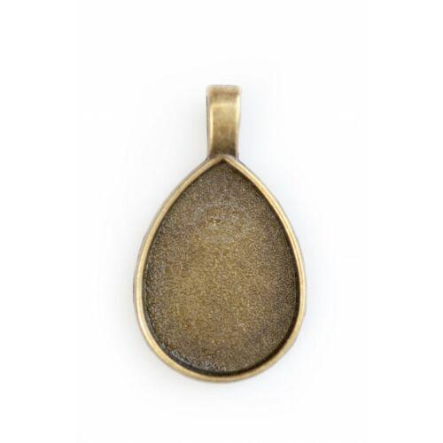 Antikolt bronz színű sima csepp medál (18x25mm)