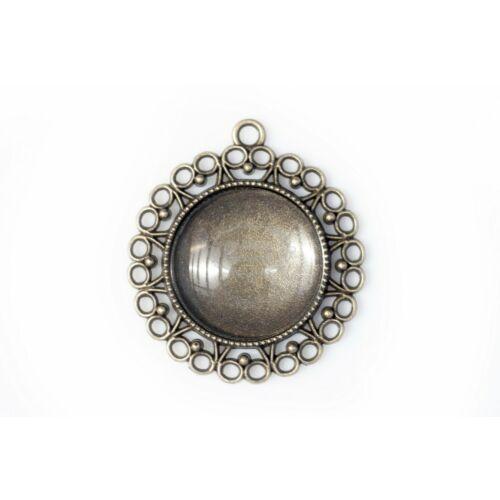 Antikolt bronz szíves medálalap (25mm) hozzátartozó üveglencsével