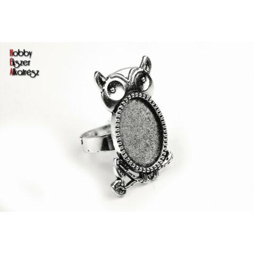 Antikolt ezüst színű baglyos gyűrűalap (13x18mm)