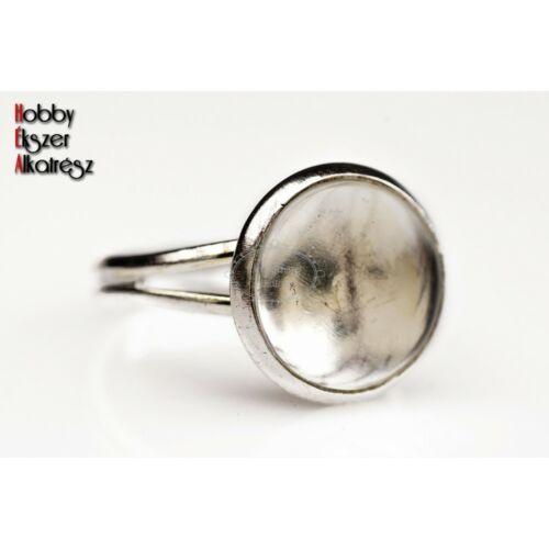 Antikolt ezüst színű sima gyűrűalap (12mm) hozzátartozó üveglencsével