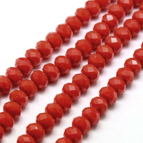 10db Csiszolt piros üveggyöngy (8x6mm)