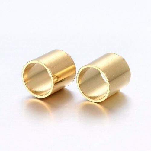 Nemesacél arany színű cső alakú gyöngy (8x8mm)