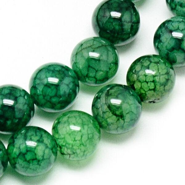 Festett zöld sárkányvér achát ásványgyöngy (8mm)/10db