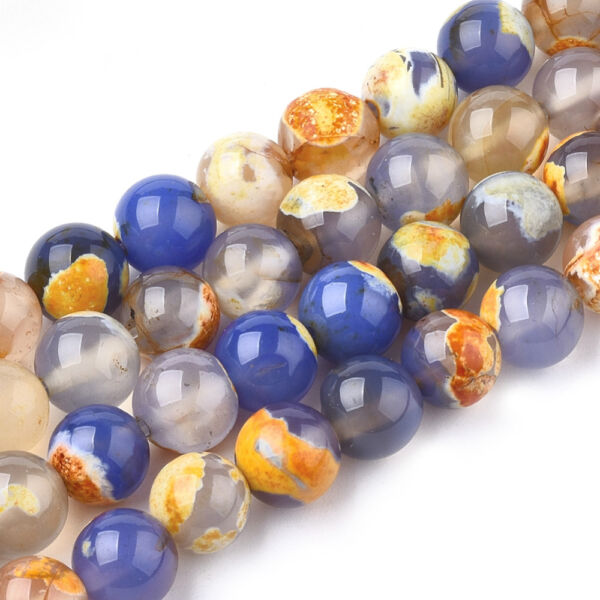Narancs-kék festett tűz achát ásványgyöngy (8mm)/10db