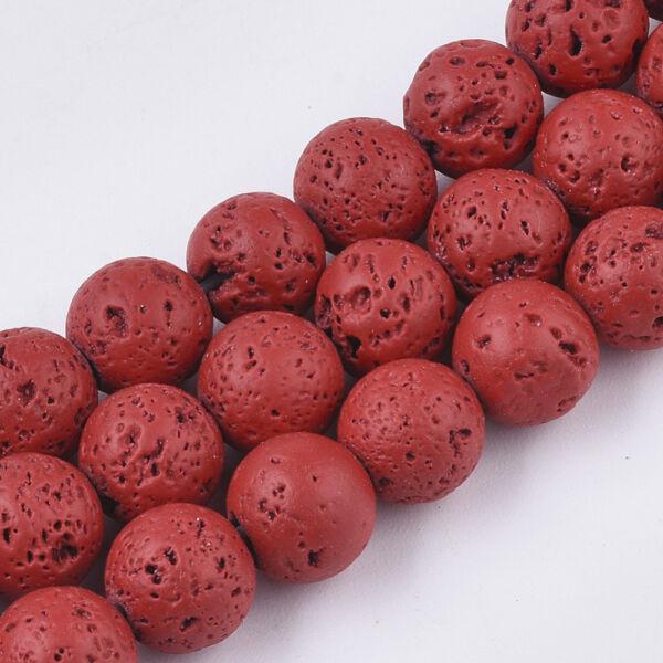 Vörös lávakő ásványgyöngy (8mm)/10db