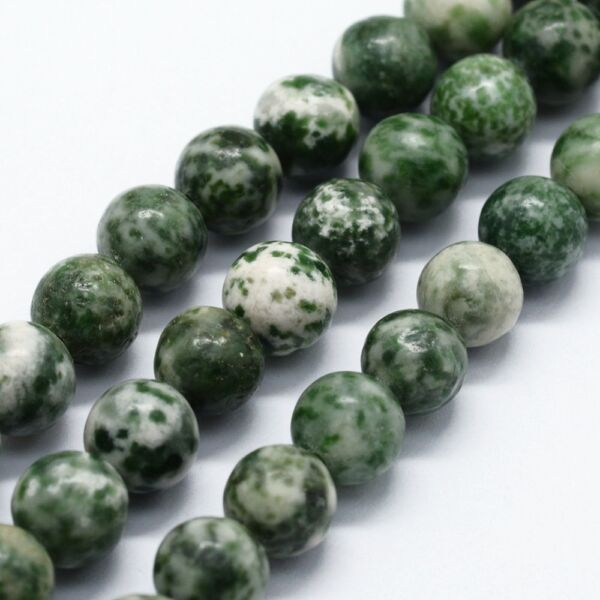 Zöld foltos jáspis ásványgyöngy (6mm)/10db