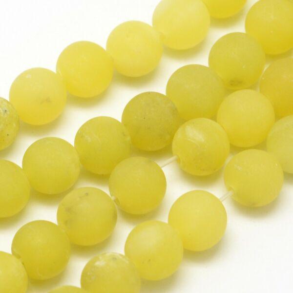 Matt citrom jade ásványgyöngy (8mm)/10db