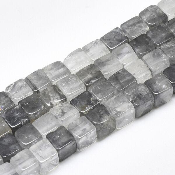 Füstös kvarc négyzet alakú ásványgyöngy (6x6mm) /5db