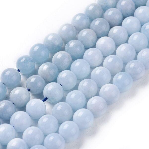 Tiszta kék akvamarin ásványgyöngy (8mm)/10db