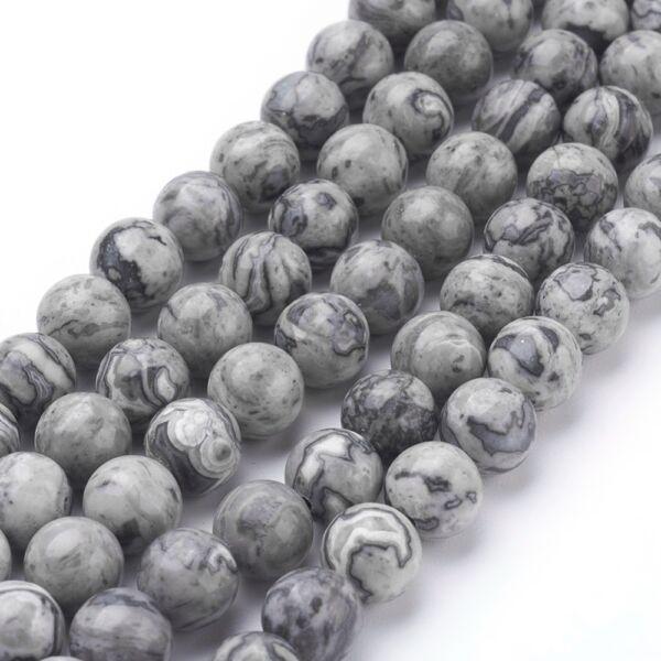 Térkép jáspis ásványgyöngy (6mm)/10db