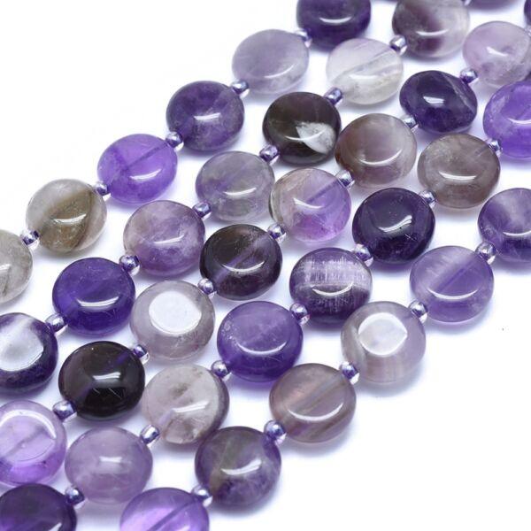 Ametiszt lapos ásvány medál (12mm)