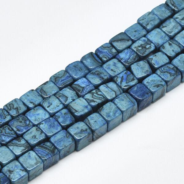 Achát négyzet alakú ásványgyöngy (6x6mm) /5db