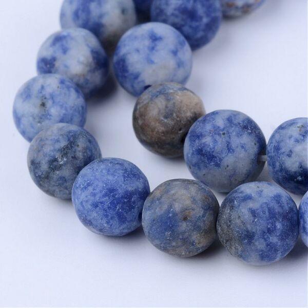 Matt blue spot ásványgyöngy (8mm)/10db
