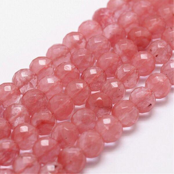 Cseresznye kvarc fazettált ásványgyöngy (8mm)/10db