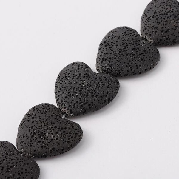 Fekete szív alakú lávagyöngy (28x28mm)