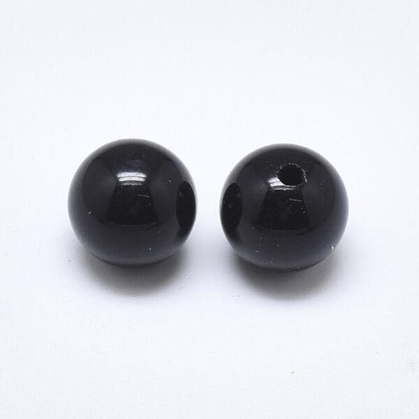 Fekete achát félig fúrt ásványgyöngy (8mm)