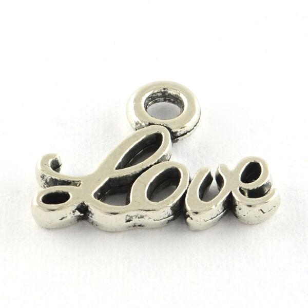 Antikolt ezüst színű Love fityegő