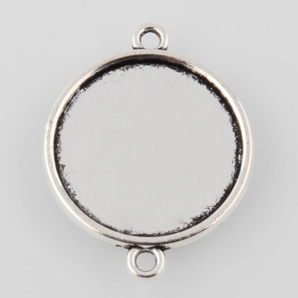 Antikolt ezüst színű sima kapcsolóelem (18mm)