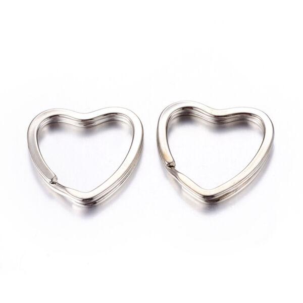 Antikolt ezüst színű szív alakú kulcstartó