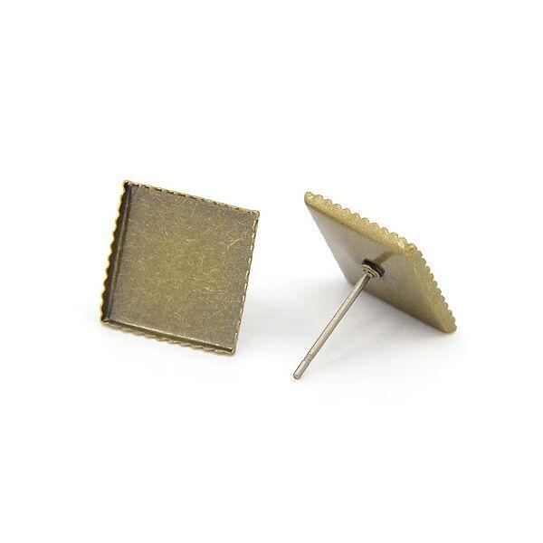 Antikolt bronz színű négyzetes fülbevalóalap (12x12mm)