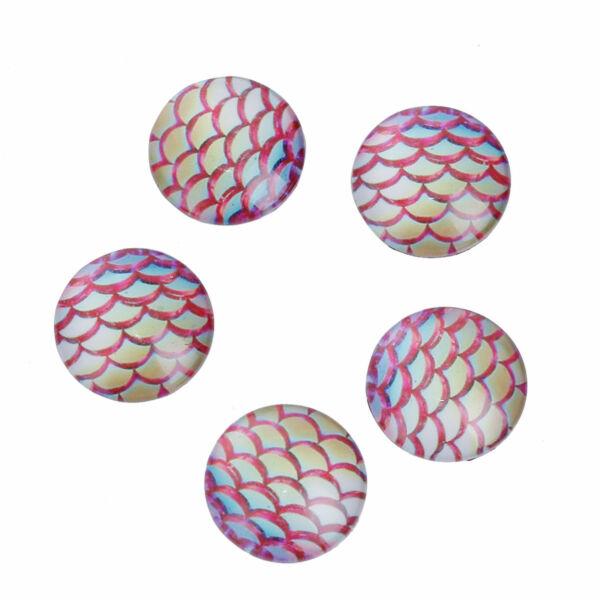 Rózsaszín sellőmintás üveglencse (20mm)