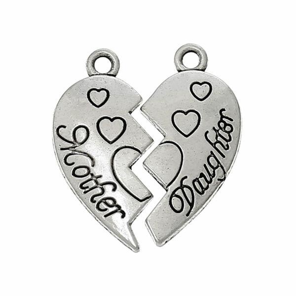 Antikolt ezüst színű anya-lánya szív alakú páros medál