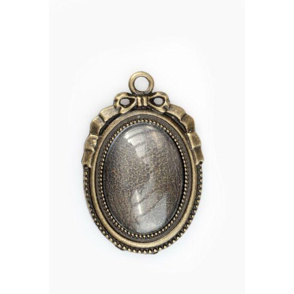 Antikolt bronz színű masnis medálalap (18x25mm) hozzátartlencsévelozó üveg