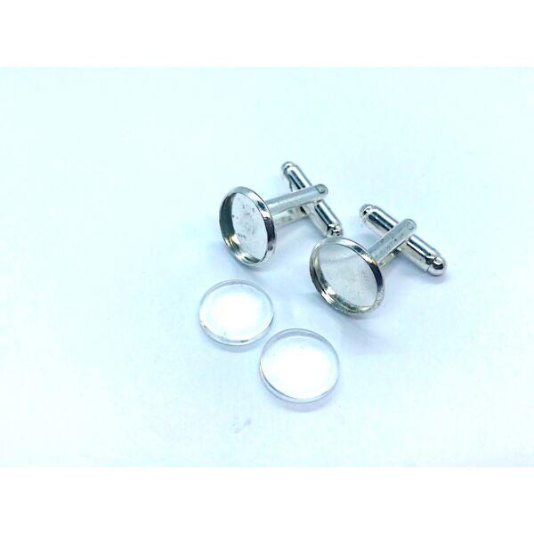 1 pár ezüst színű mandzsettagomb alap (16mm) hozzátartozó üveglencsével