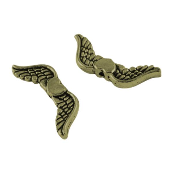 Antikolt bronz színű szives angyalszárny köztes (7x20mm)