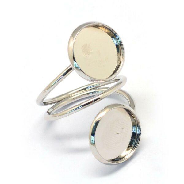 Ezüst színű dupla tányéros gyűrűalap (12mm)