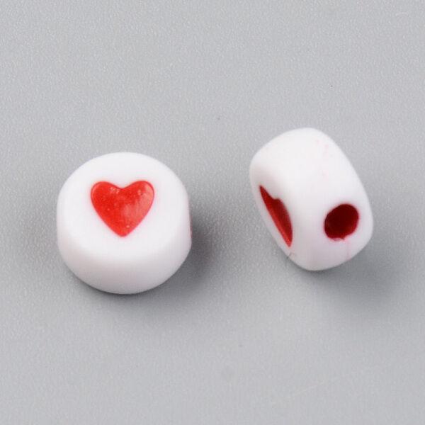 Műanyag szív mintás kör gyöngy (7x4mm)